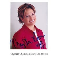 Signed Retton Mary Lou 4 14x6 Promo Photo Staple hole in the middle left boarder of the photo autog