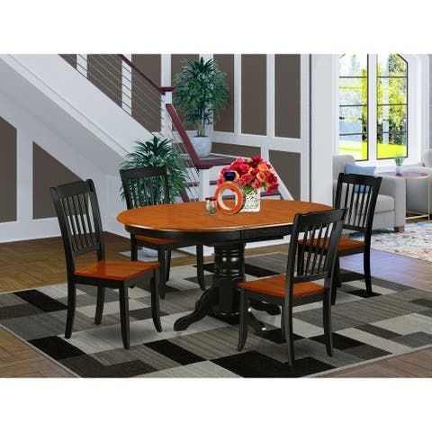 """Oval 42/60 Inch Table with 18"""" Leaf and 4 Vertical Slatted Chairs - Black and Cherry Finish (Pieces Option)"""