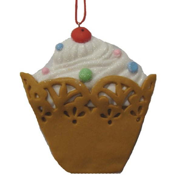 Sweet Memories White Cupcake with Cherry on Top Christmas Ornament - multi