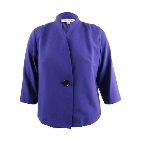 KASPER Womens Purple Solid Suit Coat Size 14