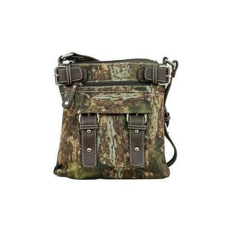 Bandana Western Handbag Crossbody Zip Top Fringe Camo - 11 x 11 x 2