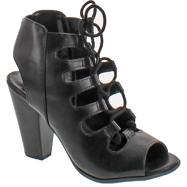 Soda Women's Sunset Open Toe Strappy Lace Up Slingback Stacked Heels - Black