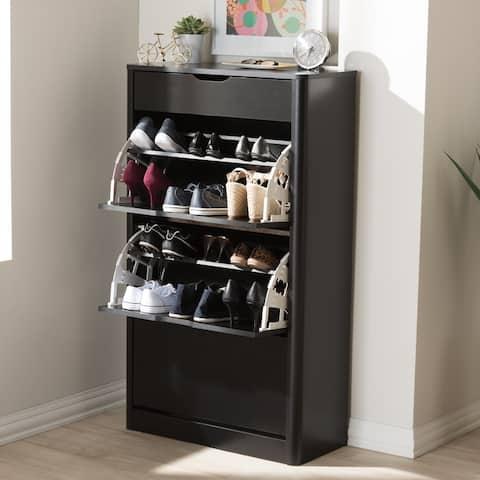 Contemporary Black Wood Storage Cabinet by Baxton Studio