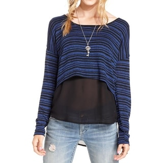 Jessica Simpson Womens Juniors Addy Casual Top Striped Long Sleeve