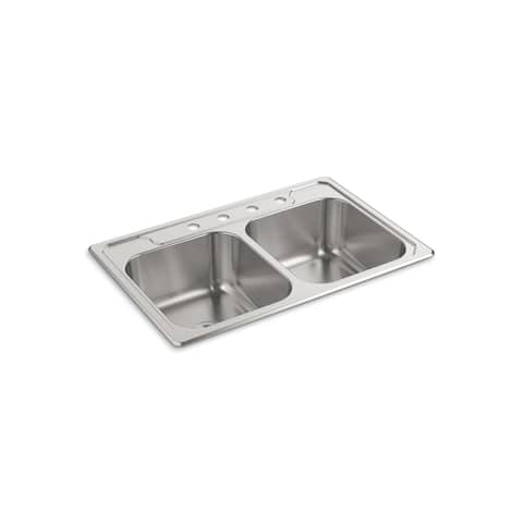 STERLING 14708-4-NA Middleton Double Kitchen Sink, Stainless Steel