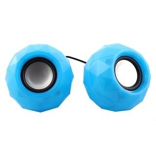 Phone 3.5mm USB 2.0 Port Plug Stereo Bass Mini USB Speaker Blue