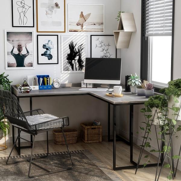 Furniture of America Magnus Industrial L-Shape Desk With USB Port. Opens flyout.