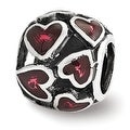 Sterling Silver Reflections Red Enamel Filigree Heart Bead (4mm Diameter Hole) - Thumbnail 0