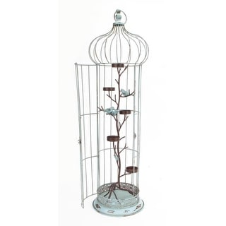 "36"" New Romance Distressed Blue Tea Light Candle Holder Bird Cage with Bird Accents"