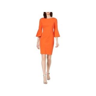 Calvin Klein Womens Wear to Work Dress Bell Sleeves Sheath