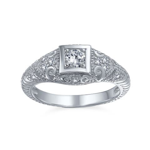 1CT Square Solitaire AAA CZ Vintage Engagement Ring Sterling Silver