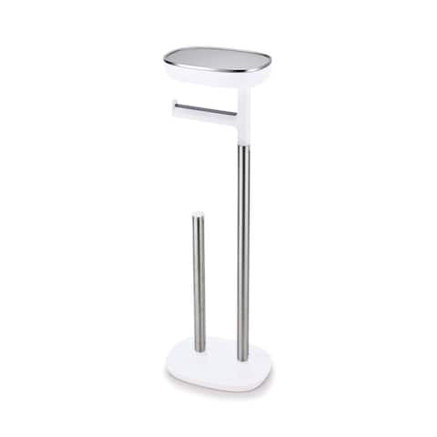 Joseph Joseph 70518 EasyStore Butler Toilet Paper Holder Stand and Spare Roll Storage with Shelf and Drawer, Stainless Steel