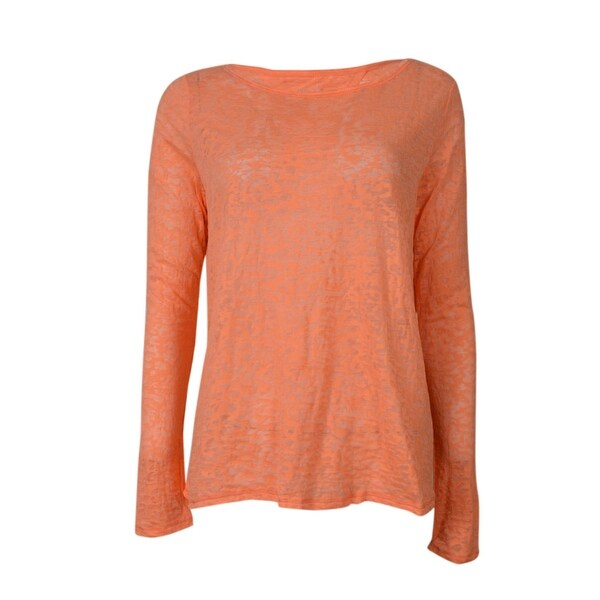 d1e9c482cdab92 Shop Calvin Klein Women's Burnout Sheer Cutout Performance Top - Caution  Orange - Free Shipping On Orders Over $45 - Overstock - 16089118