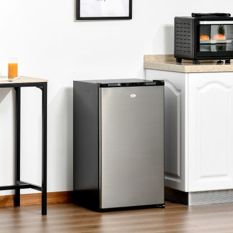 HOMCOM Compact Refrigerator 3.1 Cu Ft Mini Fridge with Adjustable Temperature Removable Glass Shelves Reversible Door
