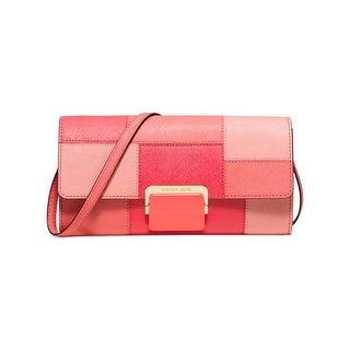 MICHAEL Michael Kors Womens Cynthia Clutch Handbag Leather Colorblock - Small