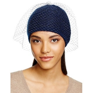 Aqua Ladies Navy Blue Sequin Knit Cap With Veil Made In Italy