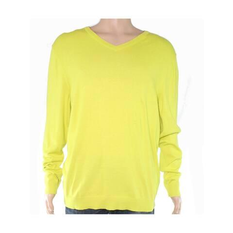ALFANI Mens Yellow V Neck Sweatshirt L