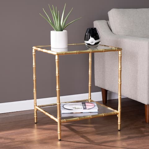 Silver Orchid Overton Glass-Top Accent Table