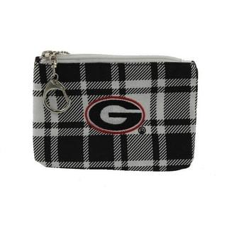 Get Ready Girls Womens Georgia Bulldogs Plaid Collegiate Coin Pouch/Purse