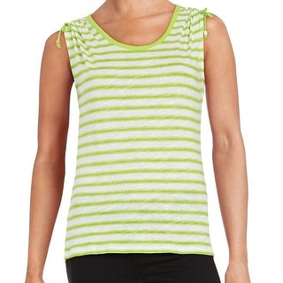 Michael Kors NEW Green White Striped Women Small S Cold-Shoulder Blouse