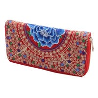 Women Embroidered Flower Design Zip Up Coin Purse Money Wallet Holder Red
