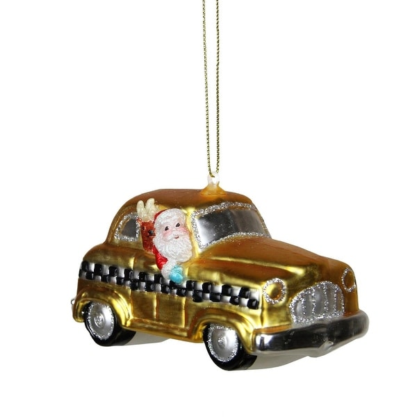 """4.25"""" Glass Santa in Yellow, Silver and Black Checkered Taxi Cab Christmas Ornament"""