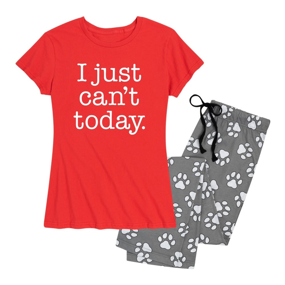 I Just Cant Today - Womens Pajama Set - Red Paw Print