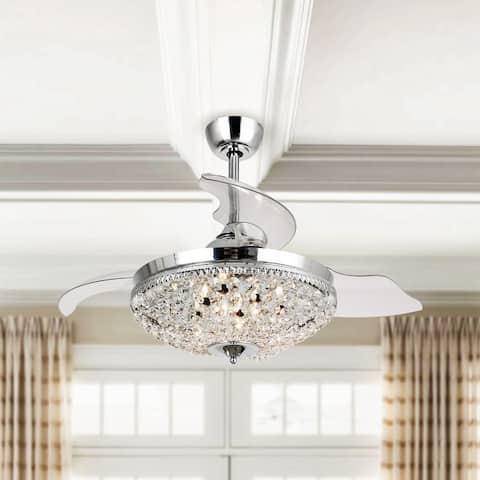 Modern Chrome Crystal 42-inch Ceiling Fan 6-Light Chandelier