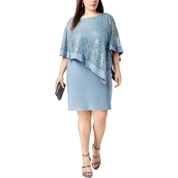 R&M Richards Womens Plus Special Occasion Dress Sequined Popover