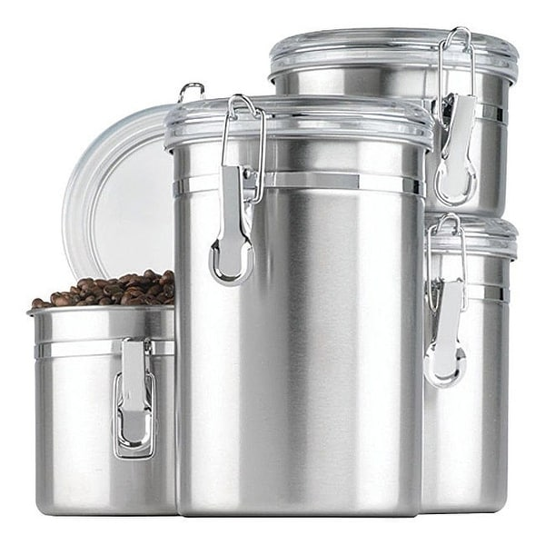 Anchor Hocking 24954 Clamp Canister Set with Clear Lids, 4 Piece