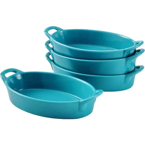 Set of 4 Oval Au Gratin Baking Dishes, Porcelain Bakeware Ideal for Creme Brulee Easy Carry Handles, table Serving Dish
