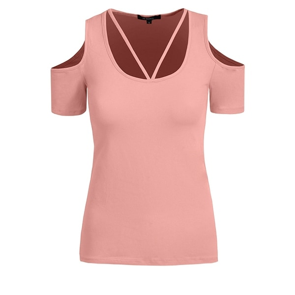 8f21f08608b38 NE PEOPLE Womens Basic Open Shoulder Short Sleeve T-Shirts  NEWT198
