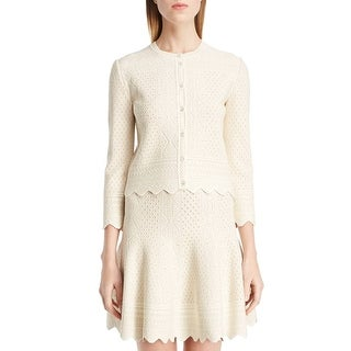 Alexander McQueen NEW Ivory Womens Large L Jacquard Cardigan Sweater