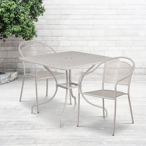 """35.5"""" Square Gold Indoor-Outdoor Steel Patio Table Set w/ 2 Round Back Chairs"""