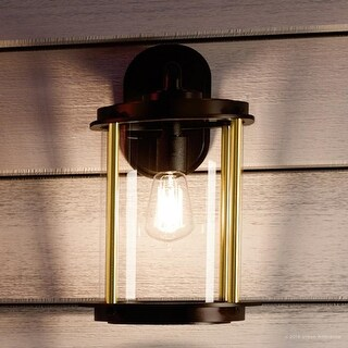 """Luxury Vintage Outdoor Wall Light, 16.5""""H x 9.75""""W, with Industrial Chic Style, Architectural Bronze Finish by Urban Ambiance"""