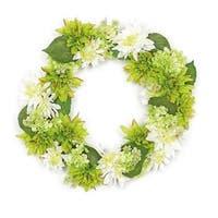 22 in. Decorative Cream White & Green Artificial Floral Dahlia &