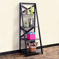 Costway 4-Tier Ladder Shelf Bookshelf Bookcase Storage Display Leaning Home Office Decor - Black