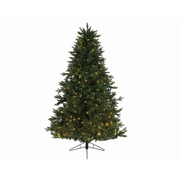 """7.5' x 58"""" Pre-Lit Everlands Skandia Fir Artificial Christmas Tree - Warm Clear LED Lights - green"""