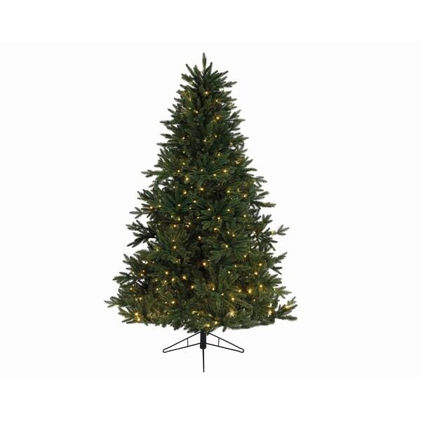 """9' x 72"""" Pre-Lit Everlands Skandia Fir Artificial Christmas Tree - Warm Clear LED Lights - green"""