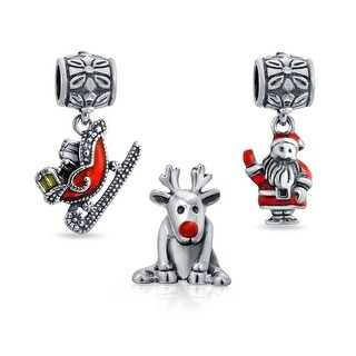 Bling Jewelry Christmas Bead Set Bundle Santa Sleigh Ruldolph Reindeer Red Enamel Dangle Charm .925 Sterling Silver
