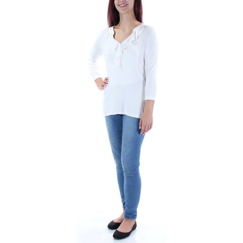 CHARTER CLUB Womens Ivory 3/4 Sleeve V Neck Top Size: M