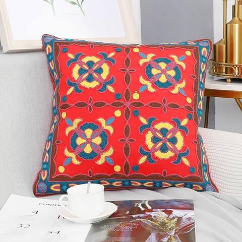 "Handmade Uzbekistan Antique Ancient Design Floral Embroidery Decorative Pillow cover 18"" x 18"""