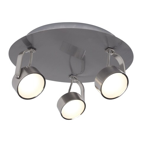 "Bazz Lighting C14181 Focus 3 Light 10"" Wide Integrated LED Flush Mount Ceiling F - Brushed Chrome"