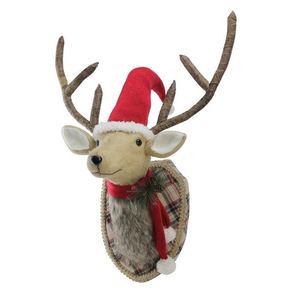 """21"""" Christmas Plaid Mounted and Dressed Reindeer Bust with Scarf and Santa Hat Wall Decor - brown"""