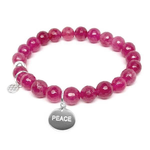 "Fuchsia Quartz Peace Silver Charm Lucy 7"" Bracelet"