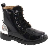Naturino Girls Lace Up With Size Zipper Leather Lined Boots - black patent/silver