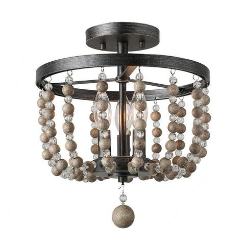 LNC 3-Light Black Wood Beaded Flush Mounts Farmhouse Lighting