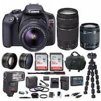 Canon EOS Rebel T6 18MP DSLR Camera w/ 18-55mm & 75-300mm Lens Bundle
