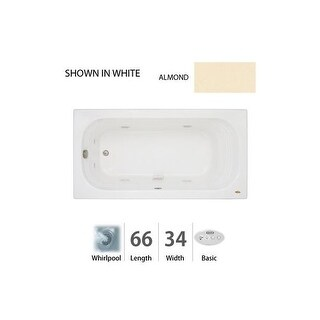 "Jacuzzi LUX6634 WRL 2HX 66"" x 34"" Luxura? Drop-In Comfort Whirlpool Bathtub with 8 Jets, Basic Controls, Heater, Right Drain and"