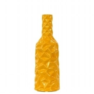 Urban Trends Collection 24445 Ceramic Round Bottle Vase With Wrinkled Sides Small - Yellow